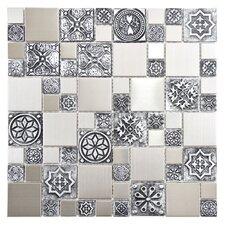 Metallic Random Sized Resin and Metal, Porcelain Mosaic Tile in Silver