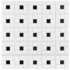 Retro Random Sized Porcelain Mosaic Tile in White and Black