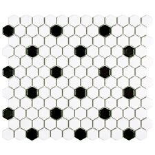 "Retro 0.875"" x 0.875"" Porcelain Mosaic Tile in Matte White with Black Dots"