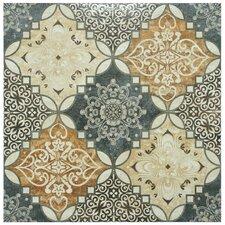 "Traverti 17.75"" x 17.75"" Decor Ceramic Floor and Wall Tile in Gray"