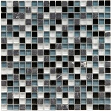 "Sierra 0.625"" x 0.625"" Glass and Natural Stone Mosaic Tile in Tuxedo"