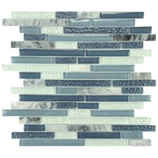 Sierra Random Sized Glass and Natural Stone Mosaic Tile in Gulf