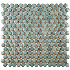 "Penny 0.75"" x 0.75"" Porcelain Mosaic Tile in Marine"