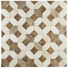 "Caprichos 17.75"" x 17.75"" Ceramic Metall Tile in Marmol Beige"