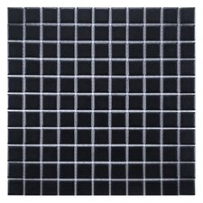 "Retro 1"" x 1"" Porcelain Mosaic Tile in Matte Black"