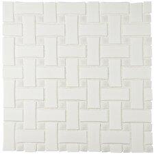 "Retro Basket Weave 10.5"" x 10.5"" Porcelain Mosaic Tile in White"