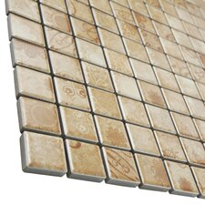 "Filigree 0.9"" x 0.9"" Porcelain Mosaic Floor and Wall Tile in Brown"