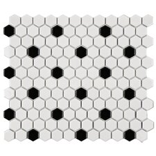 "Retro 0.875"" x 0.875"" Porcelain Mosaic Tile in White and Black"
