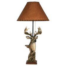 """Deer Poly Resin 24"""" H Table Lamp with Empire Shade"""