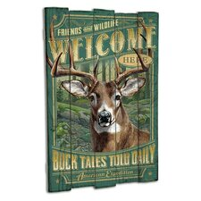 Whitetail Deer Wooden Cabin Sign Wall Décor