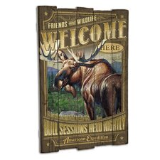 Moose Wooden Cabin Sign Wall Decor