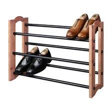 Expandable 3 Tier Cedar Shoe Rack