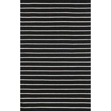 Sorrento Pinstripe Black Indoor/Outdoor Area Rug