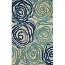 Tivoli Rambling Rose Playa Blue Area Rug