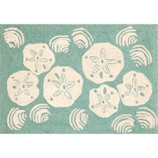 Frontporch Aqua Shell Toss Area Rug