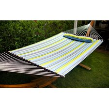 Outdoor Hammock with Wood Spreader Bars and Pillow