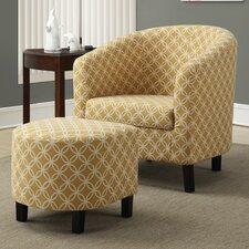 Circular Barrel Chair & Ottoman Set