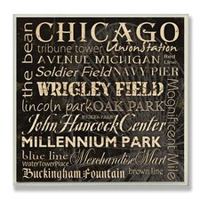 Chicago Landmarks Typography Square Wall Plaque