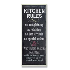 Kitchen Rules Chalkboard Look Typography Wall Plaque