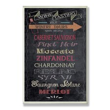 Wine Tasting Typography Chalkboard Look Kitchen Wall Plaque
