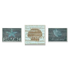 Beach is Better Typography 3 Piece Wall Plaque Set