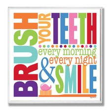 Brush Every Morning Rainbow Typography Bathroom Wall Plaque
