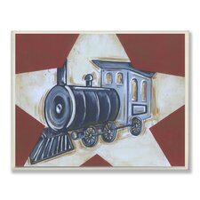 The Kids Room Train Star Rectangle Wall Plaque