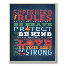 The Kids Room Superhero Rules Wall Plaque