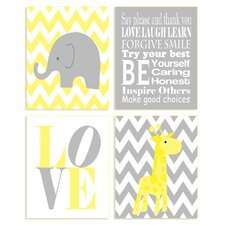 The Kids Room 4 Piece Zigzag Elephant Wall Plaque Set