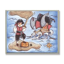 The Kids Room Pirate On Island Rectangle Wall Plaque
