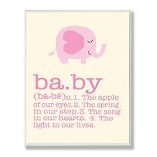 Pink Elephant Baby Typography Graphic Art Plaque