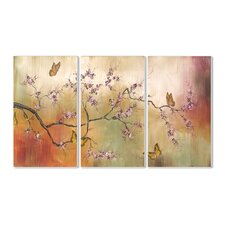Pink Blossoms and Butterflies Triptych 3 Piece Wall Plaque Set