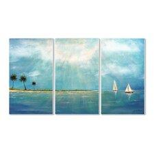 Azure Breeze 3 Piece Triptych Wall Plaque Set