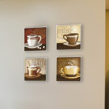 4 Piece Coffee Square Wall Plaque Set