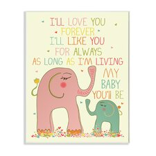 The Kids Room I'll Love You Forever Elephant Wall Plaque