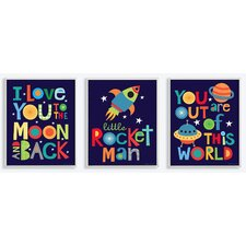 3 Piece I Love You to the Moon and Back Wall Plaque Set
