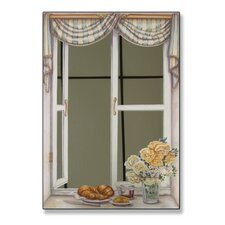 Croissant and Roses Faux Window Mirror