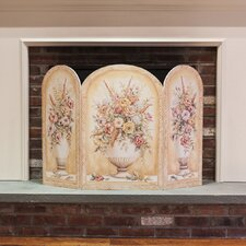 Yellow and White Vase 3 Panel Fireplace Screen