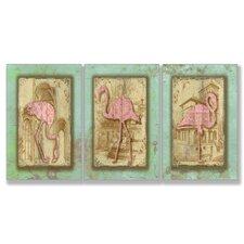 Vintage Flamingo Triptych 3 Piece Wall Plaque Set
