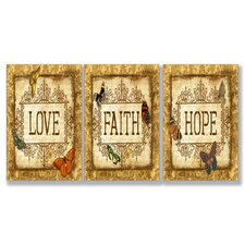 Love, Faith, Hope Typography Triptych 3 Piece Wall Plaque Set