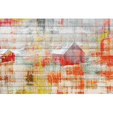 Red Barn - Art Print on White Pine Wood
