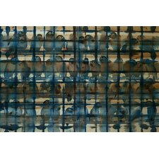 Crowded Blue-Wall Art on Natural Pine Wood