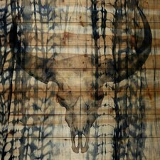 Blue Skull-Wall Art on Natural Pine Wood