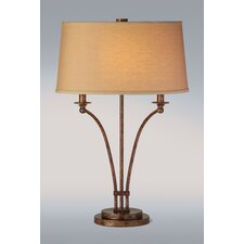 Iron Table Lamp with Oval Hardback Shade