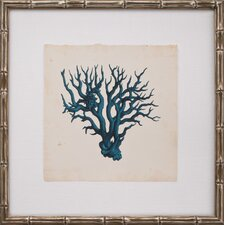 Mini Turquoise Coral VI Framed Graphic Art