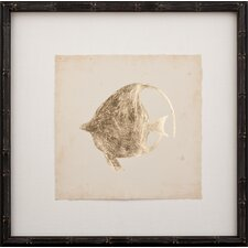 Gold Leaf Fish IV Framed Graphic Art