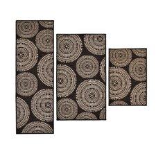 3 Piece Aztec Brown Area Rug Set