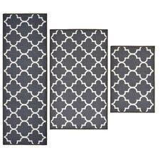 3 Piece Textured Lattice Grey Area Rug Set