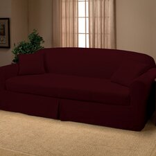 Microsuede 2-Piece Sofa Slipcover in Ruby