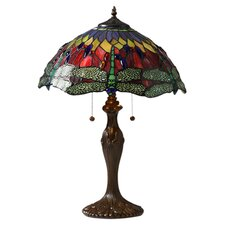 "Tiffany Dragonfly 24"" H Table Lamp with Bowl Shade"